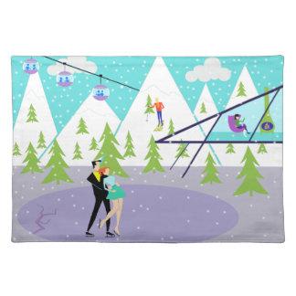 Estación de esquí retra Placemat del invierno Manteles Individuales