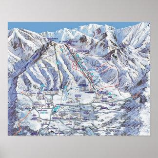 Estación de esquí, Rumania, Piana Brasov, mapa Póster