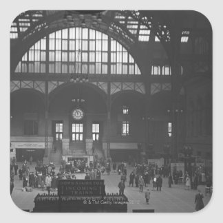 Estación de ferrocarril pegatina cuadrada