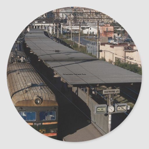 Estación de ferrocarril, Vladivostok, Rusia Pegatina Redonda