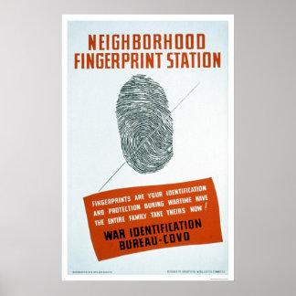 Estación de la huella dactilar de la vecindad - WP Póster