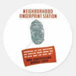 Estación de la huella dactilar de Neigborhood Etiquetas Redondas