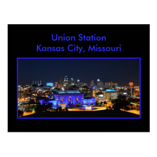 Estación de la unión de Kansas City en azul Tarjetas Postales