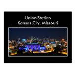 Estación de la unión de Kansas City en azul Tarjeta Postal