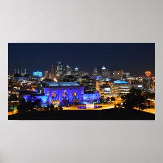 Estación de la unión en el azul, Kansas City Posters
