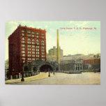 Estación de la unión, vintage 1910 del PA de Pitts Poster