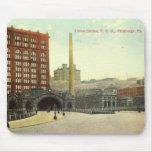Estación de la unión, vintage 1910 del PA de Pitts Tapete De Ratones