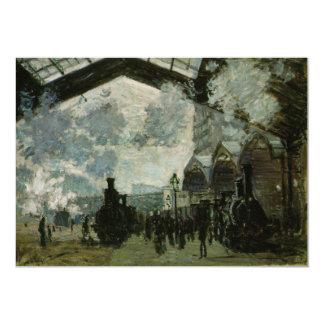 """Estación de Lazare del santo de Claude Monet Invitación 5"""" X 7"""""""