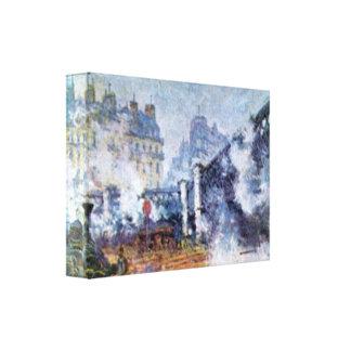 Estación de Lazare del santo en París de Claude Mo Impresión En Lona