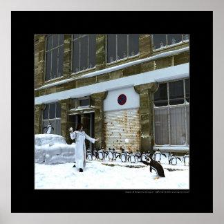 Estación de los pingüinos juguetones posters
