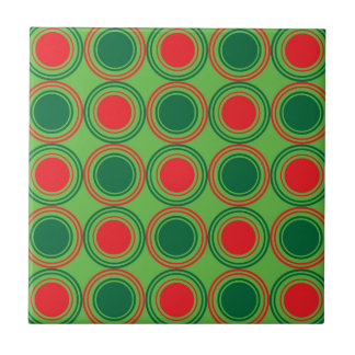 Estación de los saludos verde y rojo azulejo cuadrado pequeño