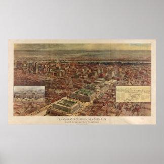 Estación de Penn del vintage y mapa de alrededor Póster