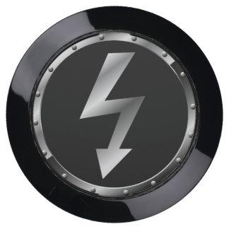 Estación de plata y negra de USB del símbolo de la