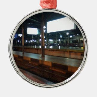 estación de tren adorno navideño redondo de metal