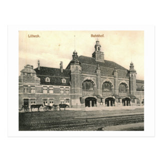 Estación de tren Bahnhof, vintage de Lubeck, Alema Postal