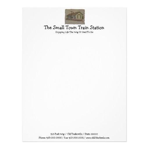 Estación de tren de la pequeña ciudad membretes personalizados