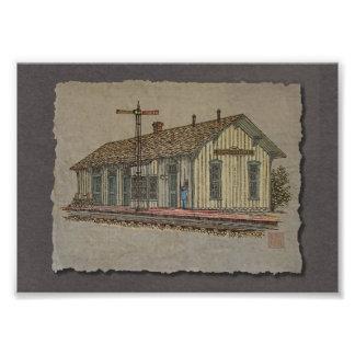 Estación de tren de la pequeña ciudad impresiones fotográficas