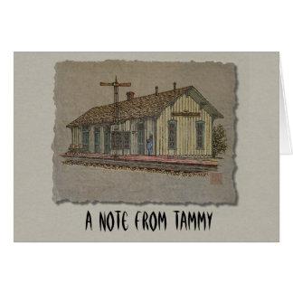 Estación de tren de la pequeña ciudad tarjeta pequeña