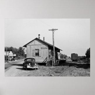 Estación de tren de Lothair Maryland 1937 Poster