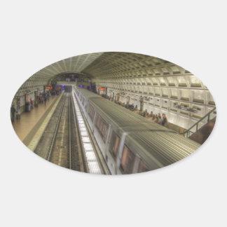 Estación de tren del metro del Washington DC Pegatina Ovalada