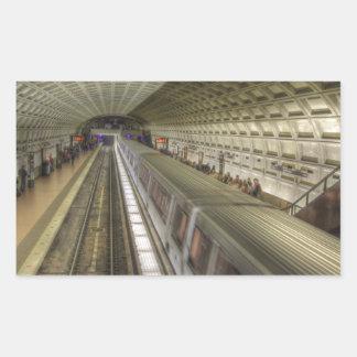 Estación de tren del metro del Washington DC Pegatina Rectangular