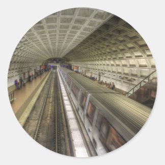Estación de tren del metro del Washington DC Pegatina Redonda