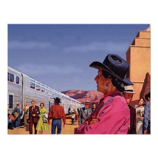 Estación de tren del vintage con el indio del nati comunicado personal