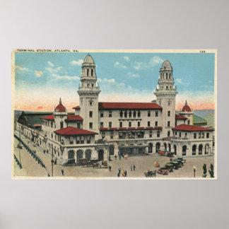 Estación de tren terminal, vintage 1923 de Atlanta Poster