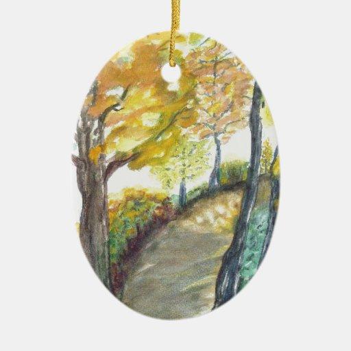 Estación del destino del bosque de la naturaleza adorno ovalado de cerámica