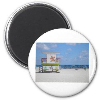 Estación del salvavidas de Miami Beach Imán Redondo 5 Cm