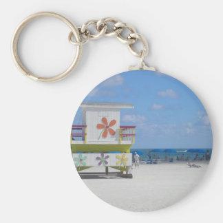 Estación del salvavidas de Miami Beach Llavero Redondo Tipo Pin