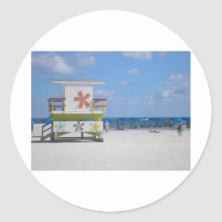 Estación del salvavidas de Miami Beach Pegatinas Redondas