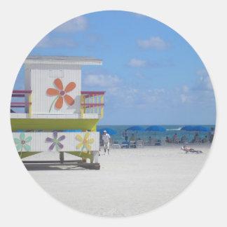 Estación del salvavidas de Miami Beach Pegatina Redonda