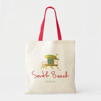 Estación del sur del salvavidas de la playa bolsa tela barata