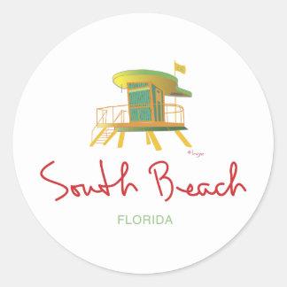 Estación del sur del salvavidas de la playa pegatina redonda