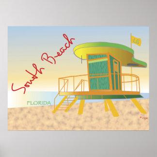 Estación del sur del salvavidas de la playa póster