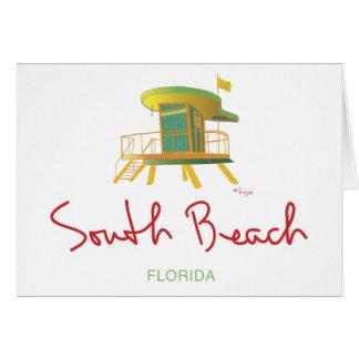 Estación del sur del salvavidas de la playa tarjeta de felicitación