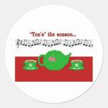 Estación del té pegatinas redondas