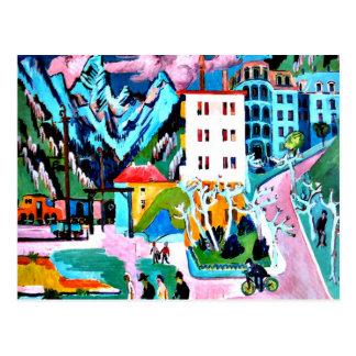 Estación en Davos, pintura de Ernesto Luis Tarjetas Postales