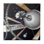 Estación espacial de la ciencia ficción del futuro teja  ceramica