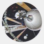 Estación espacial de la ciencia ficción del futuro pegatina redonda
