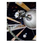 Estación espacial de la ciencia ficción del futuro postal