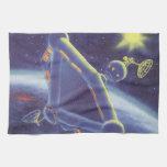 Estación espacial de la ciencia ficción del vintag toalla