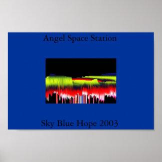 Estación espacial del ángel póster