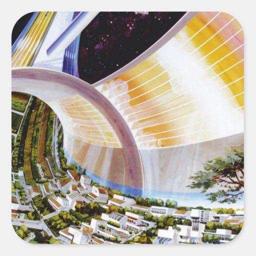 Estación espacial del anillo - hábitat futuro del calcomanía cuadradas personalizadas