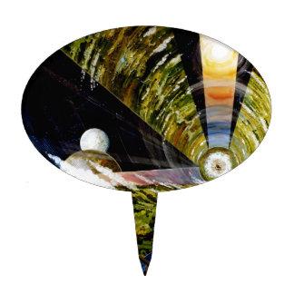 Estación espacial del futuro - visión interior decoración de tarta