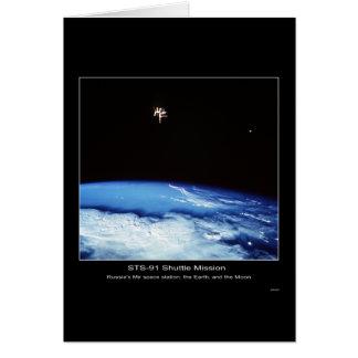 Estación espacial del MIR de Rusia, la tierra y la Tarjeta