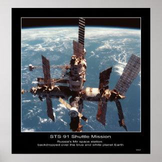 Estación espacial del MIR de Rusia sobre el pl… -  Póster