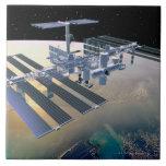 Estación espacial en la órbita 4 azulejos cerámicos