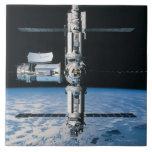Estación espacial en la órbita 7 teja cerámica